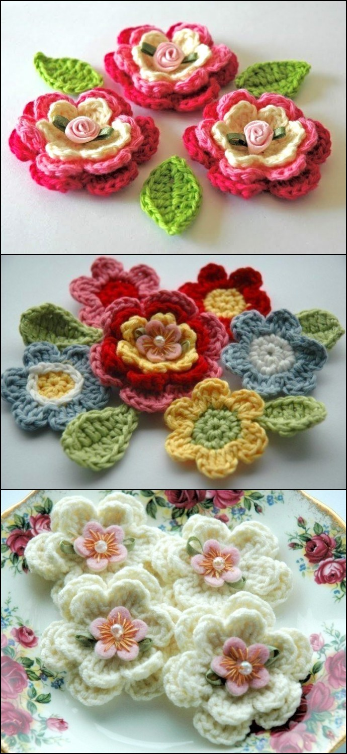 Blooming Crochet Flowers And Leaves Free Crochet Pattern