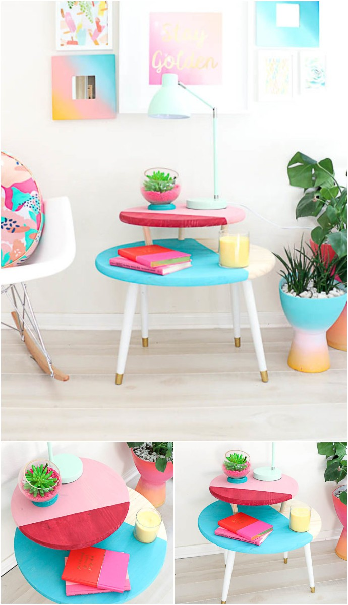 Build It A Color Blocked Two Tiered Coffee Table