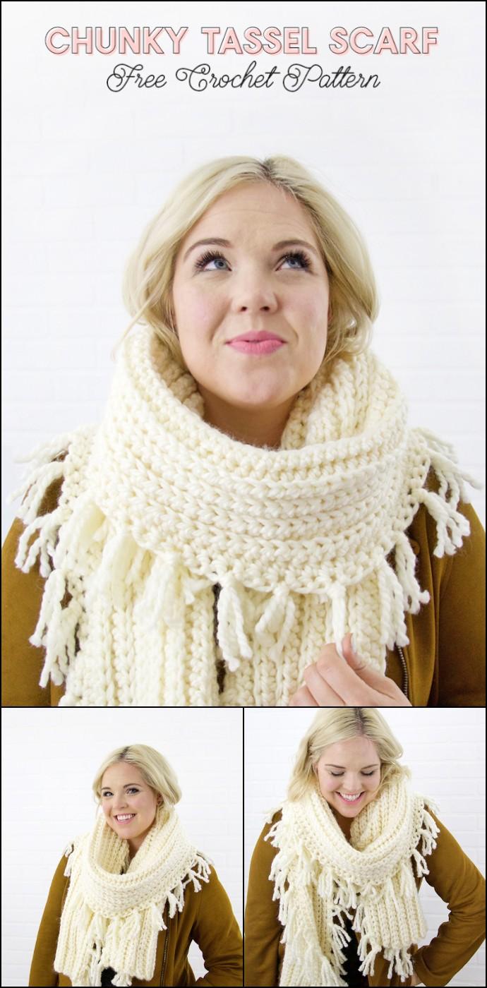 Chunky Tassel Crochet Scarf Pattern