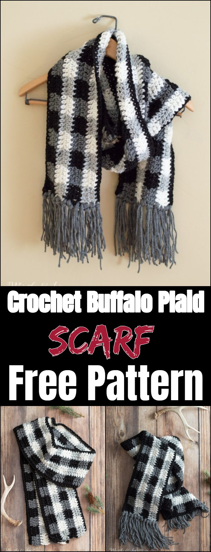 Crochet Buffalo Plaid Scarf Free Pattern