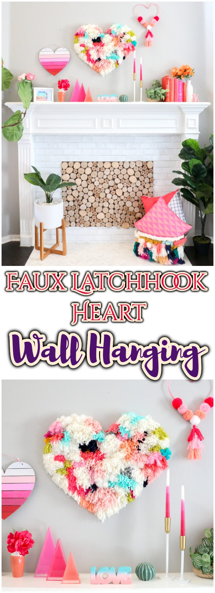 Diy Faux Latchhook Heart Wall Hanging