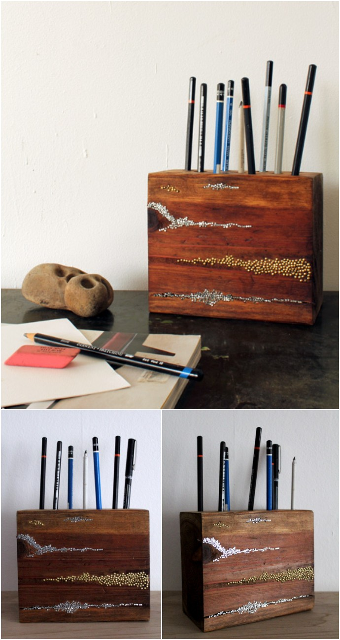 Diy Project Embellished Wood Pencil Block