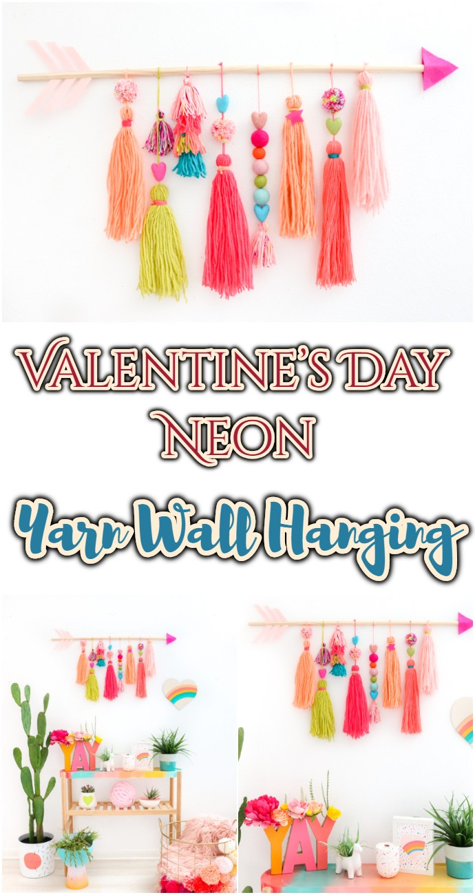 Diy Valentine's Day Neon Yarn Wall Hanging