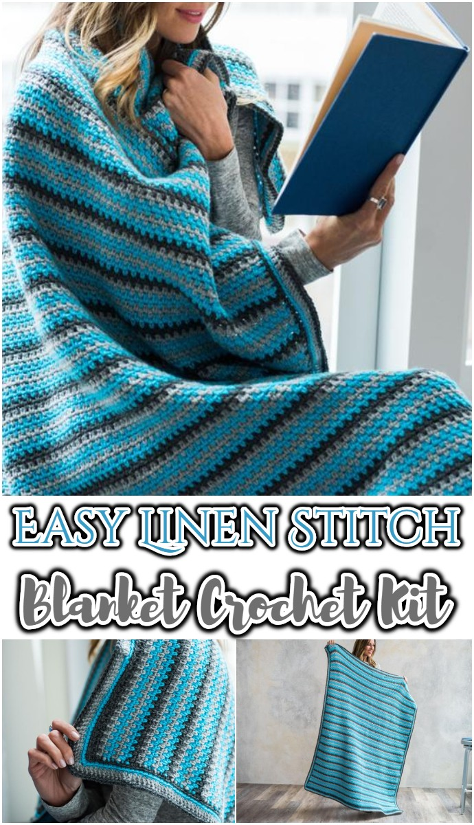 Easy Linen Stitch Blanket Crochet Kit