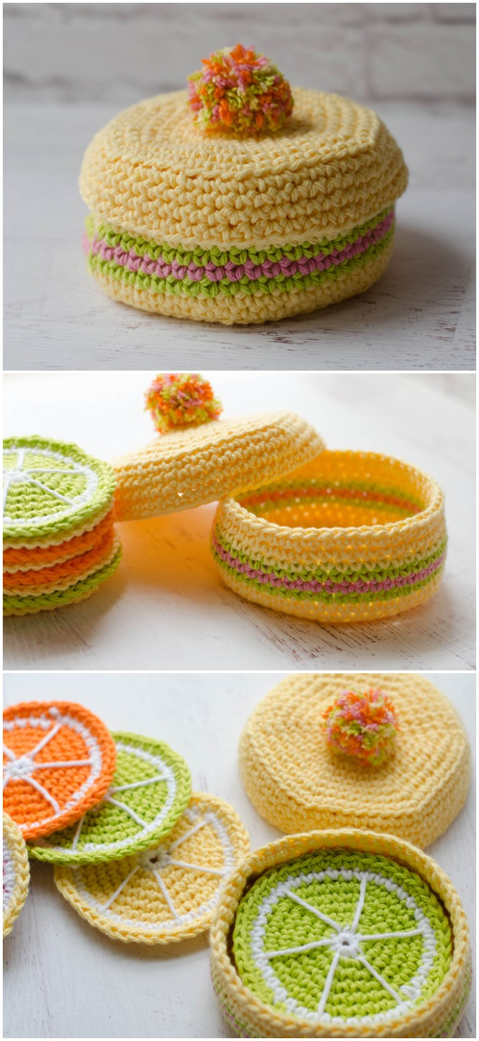 Free Crochet Coaster Box With Lid