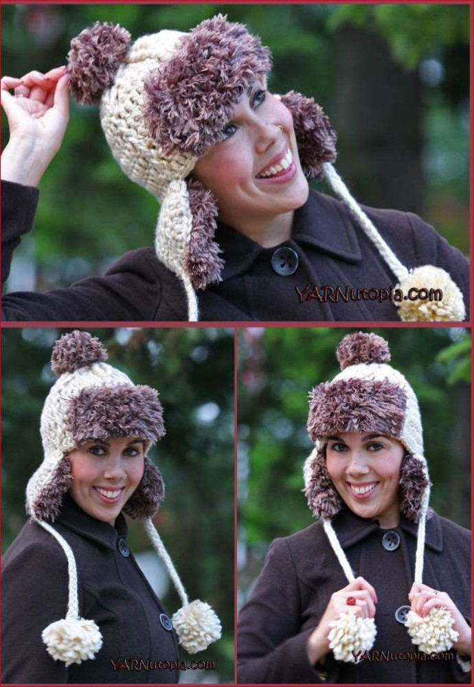 Free Crochet Faux Fur Trapper Hat