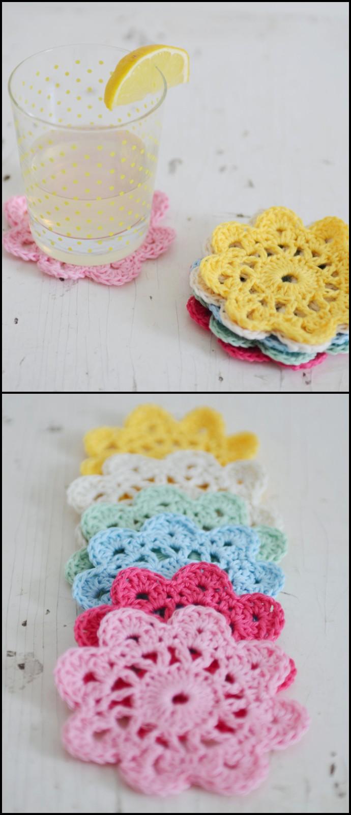 Free Crochet Flower Coasters
