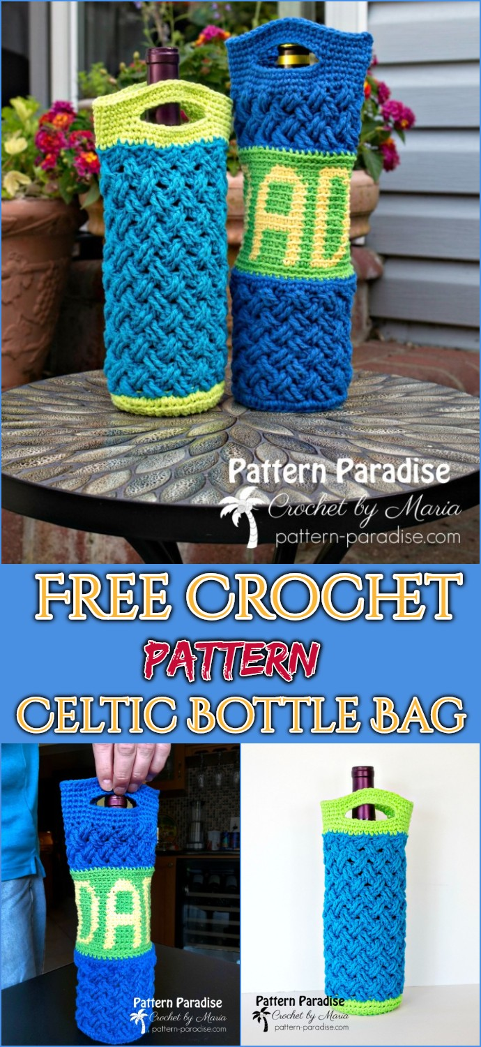 Free Crochet Pattern Celtic Bottle Bag