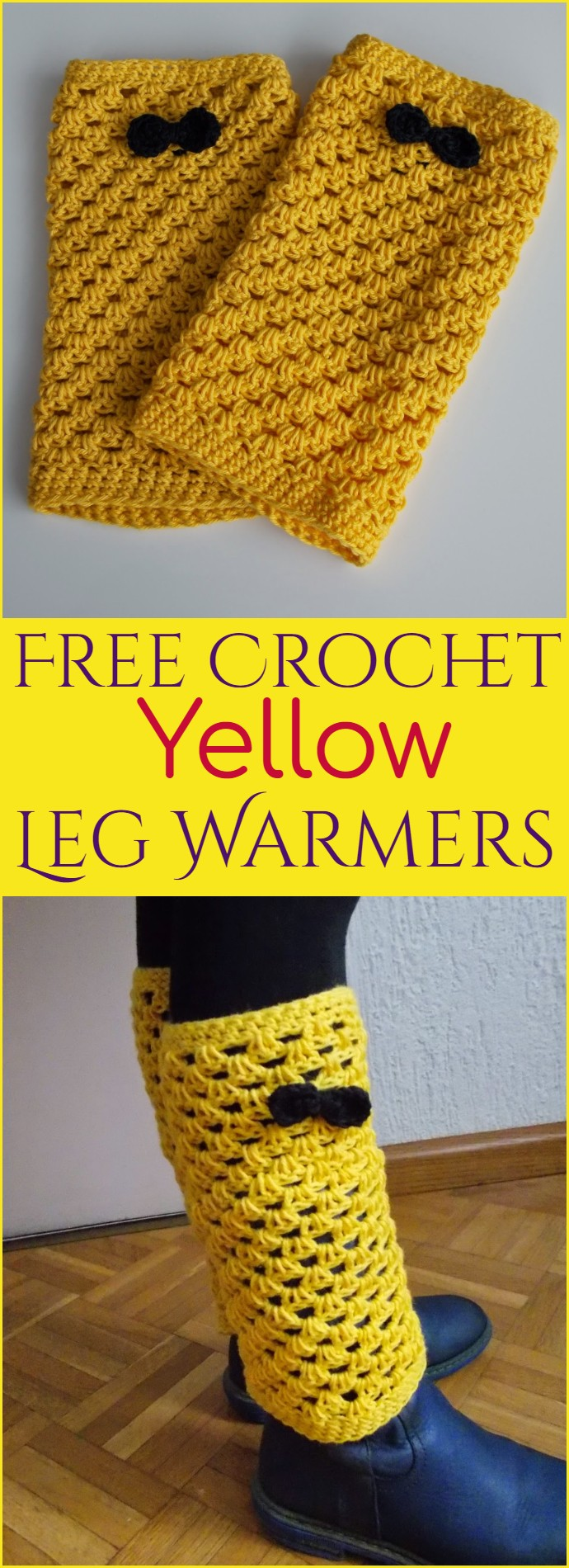Free Crochet Yellow Leg Warmers