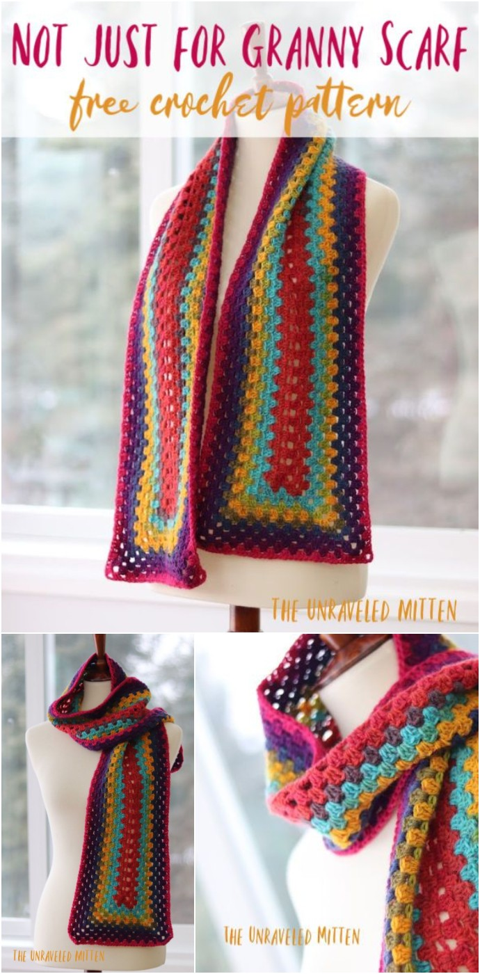Not Just For Granny Rectangle Crochet Scarf Pattern