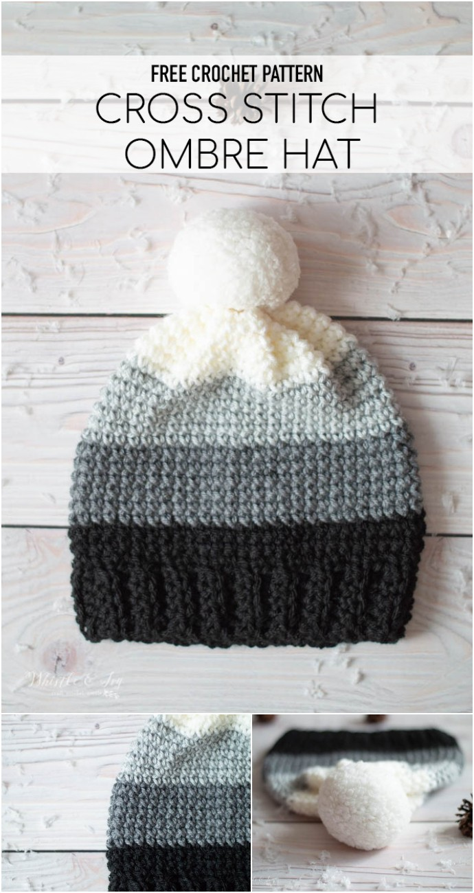 Ombre Cross Stitch Sc Hat Free Crochet Pattern