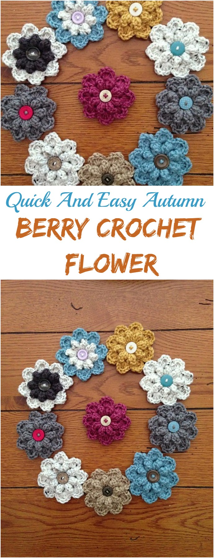 Quick And Easy Autumn Berry Crochet Flower