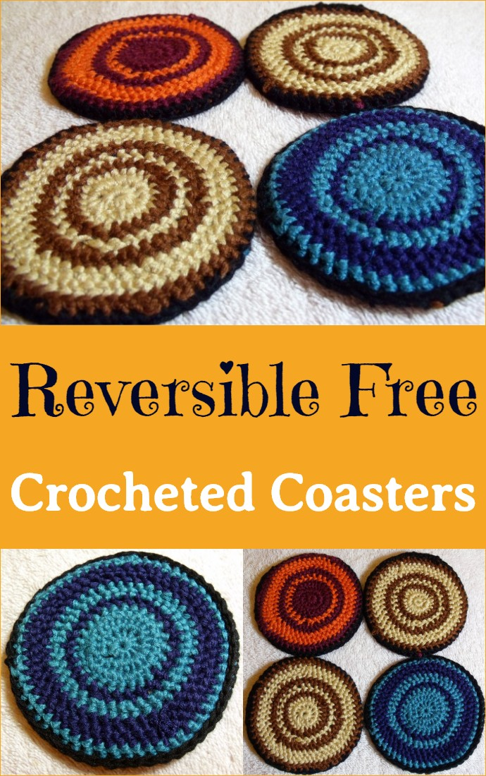 Reversible Free Crocheted Coasters