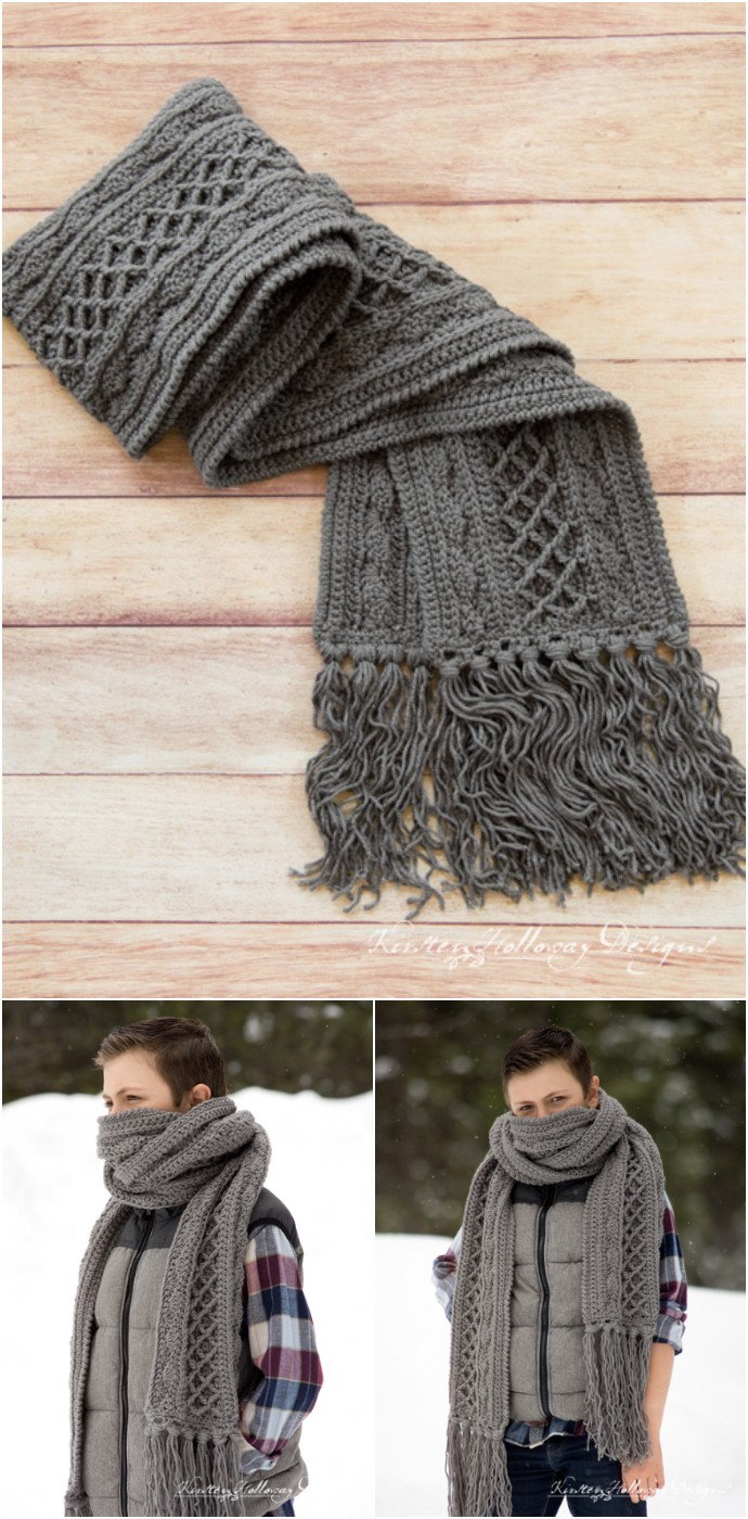 Snow Country Super Scarf Free Unisex Crochet Pattern