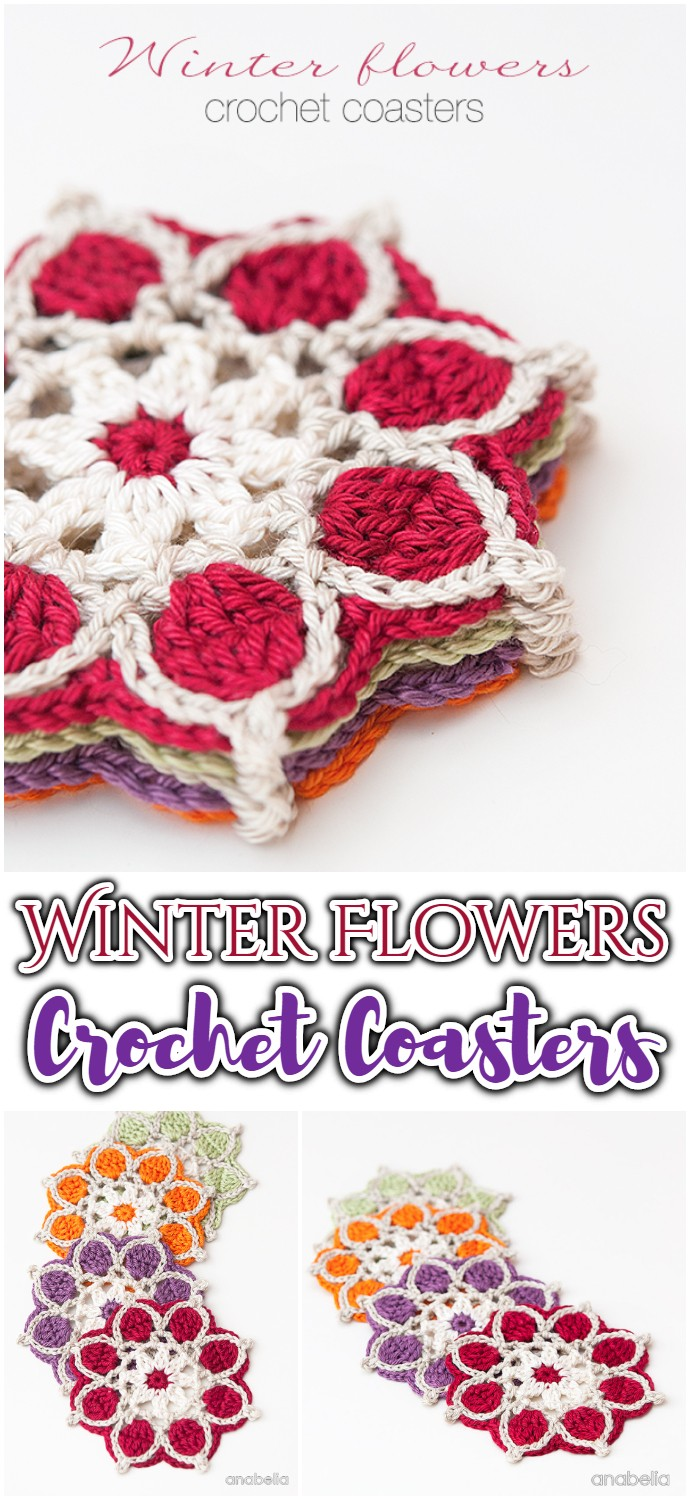 Winter Flowers Crochet Coasters