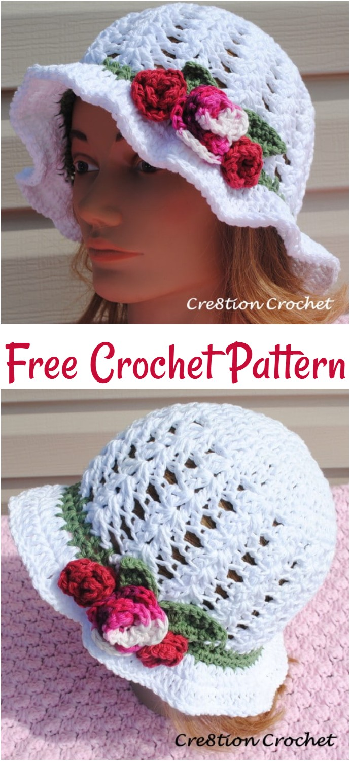 Adult Spring Or Easter Hat Shell Stitch Cotton Hat