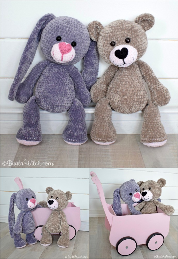 Big Crocheted Teddy Bear And Rabbit