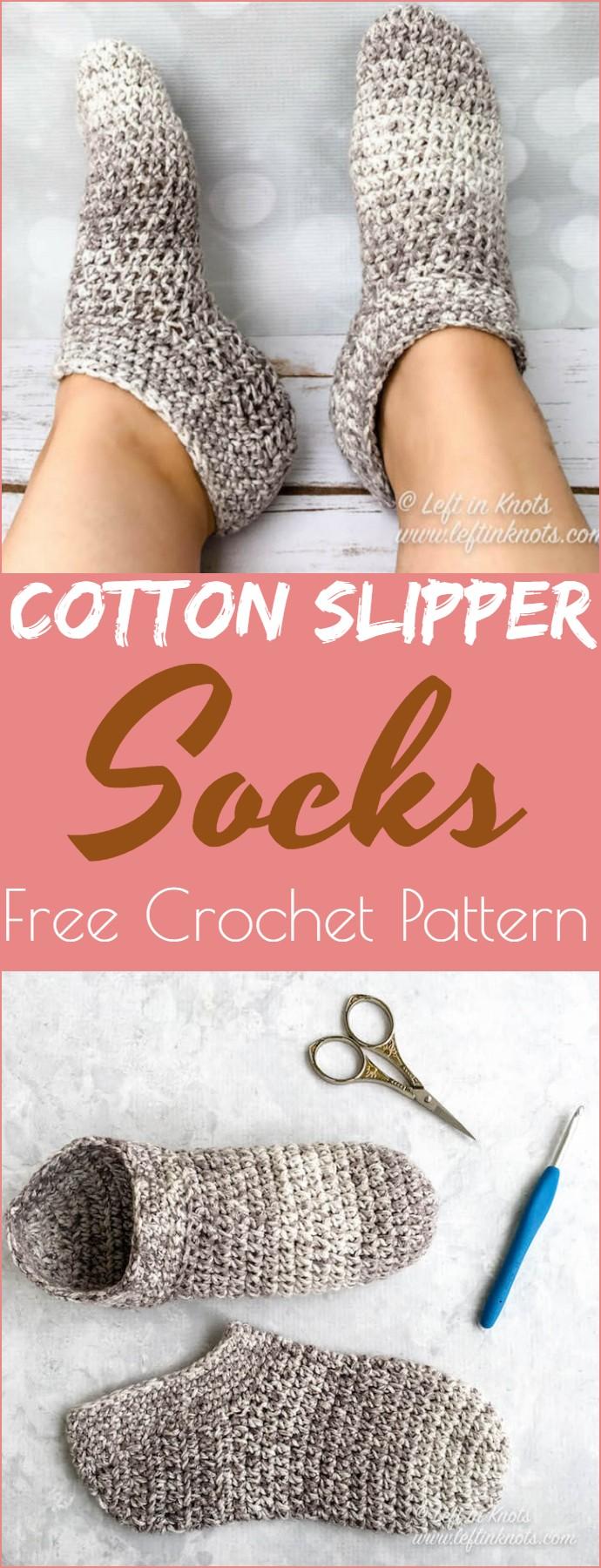 Cotton Slipper Socks Free Crochet Pattern
