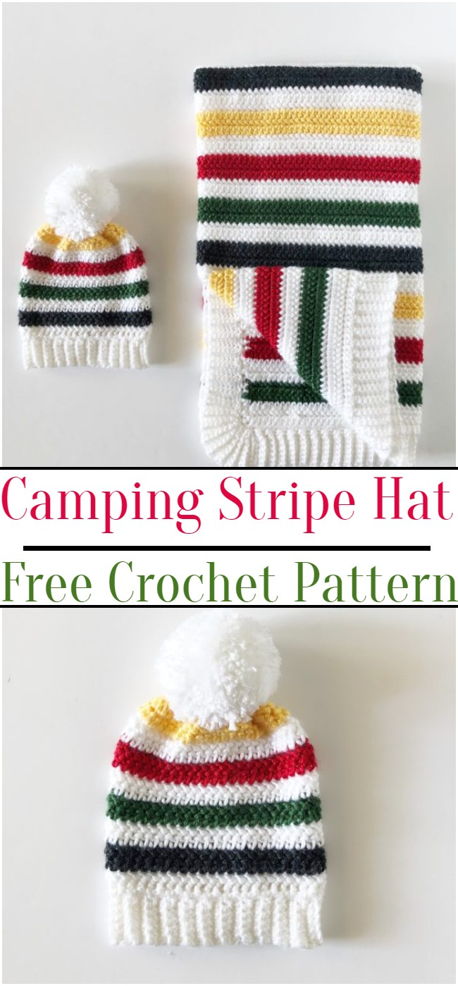 Crochet Camping Stripe Hat Pattern: