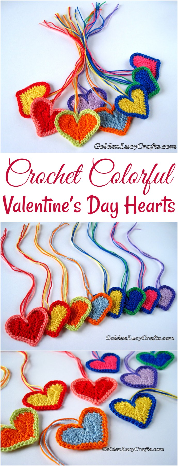 Crochet Colorful Valentine's Day Hearts