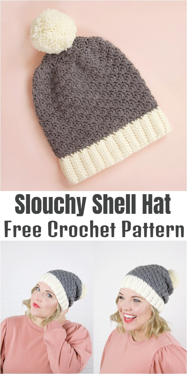 Crochet Slouchy Shell Hat Pattern