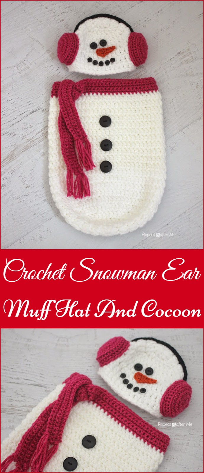 Crochet Snowman Ear Muff Hat And Cocoon