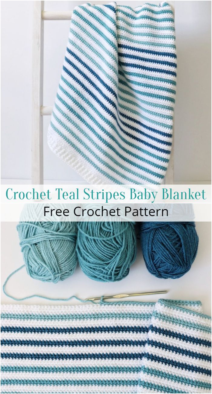 Crochet Teal Stripes Baby Blanket