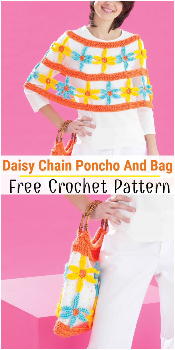 Daisy Chain Poncho And Bag Free crochet Pattern