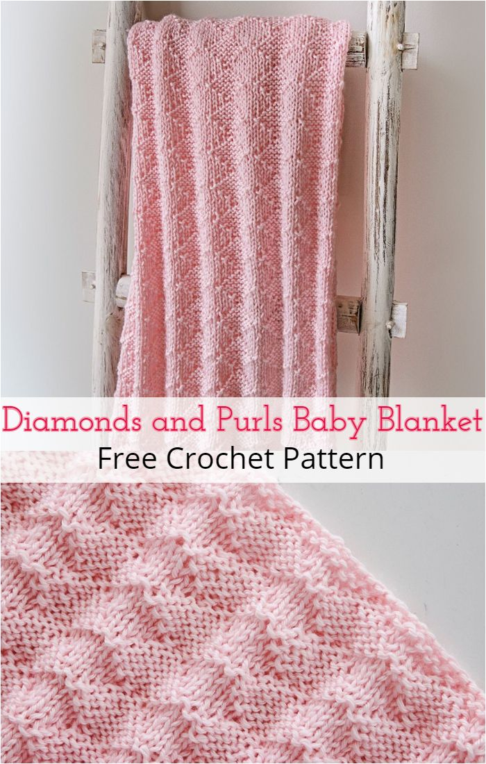 Diamonds and Purls Baby Blanket Knitting Pattern