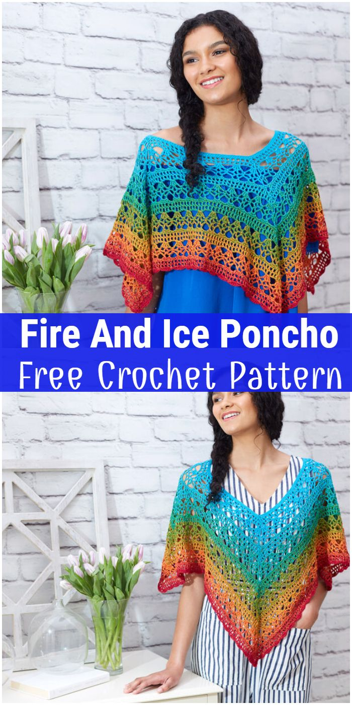 Fire And Ice Poncho Free Crochet Pattern