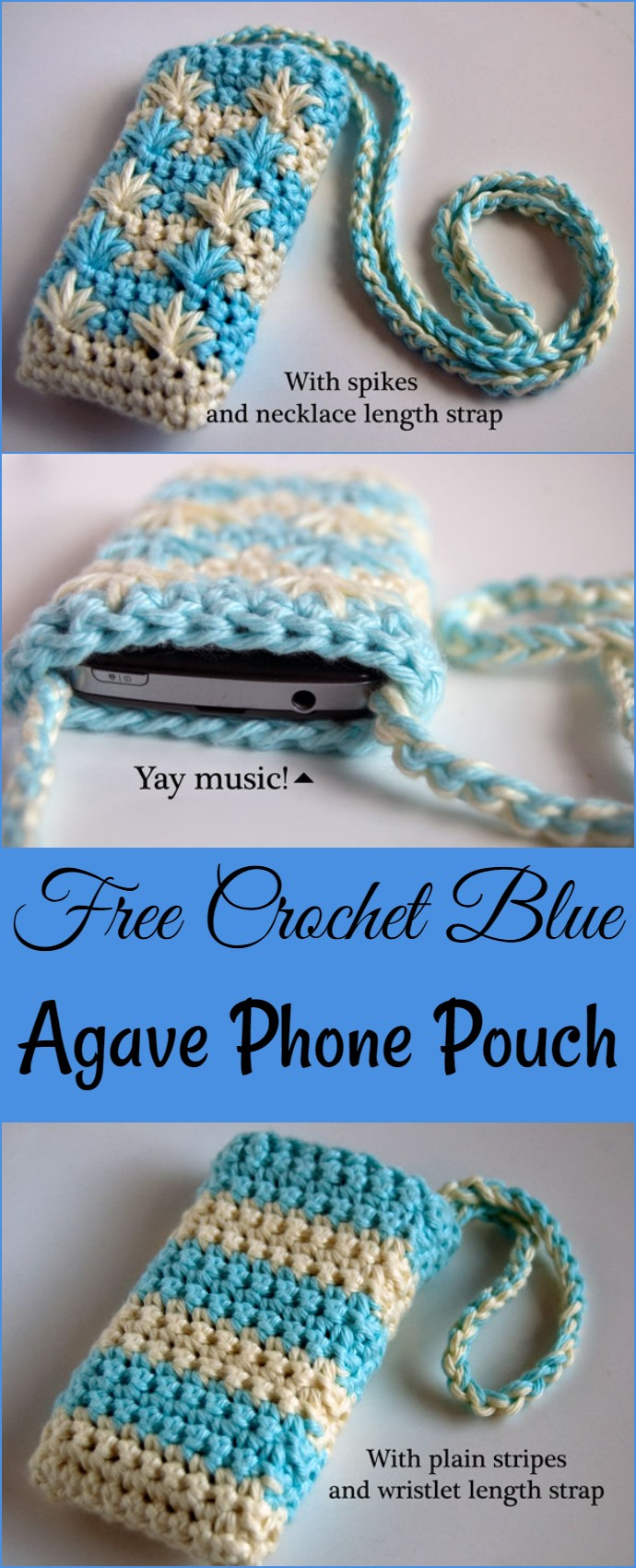 Free Crochet Blue Agave Phone Pouch