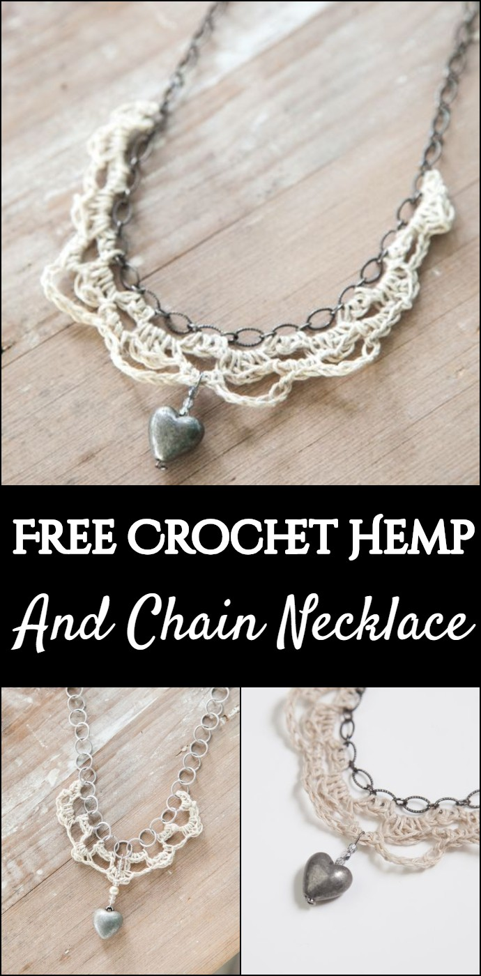 Free Crochet Hemp And Chain Necklace_