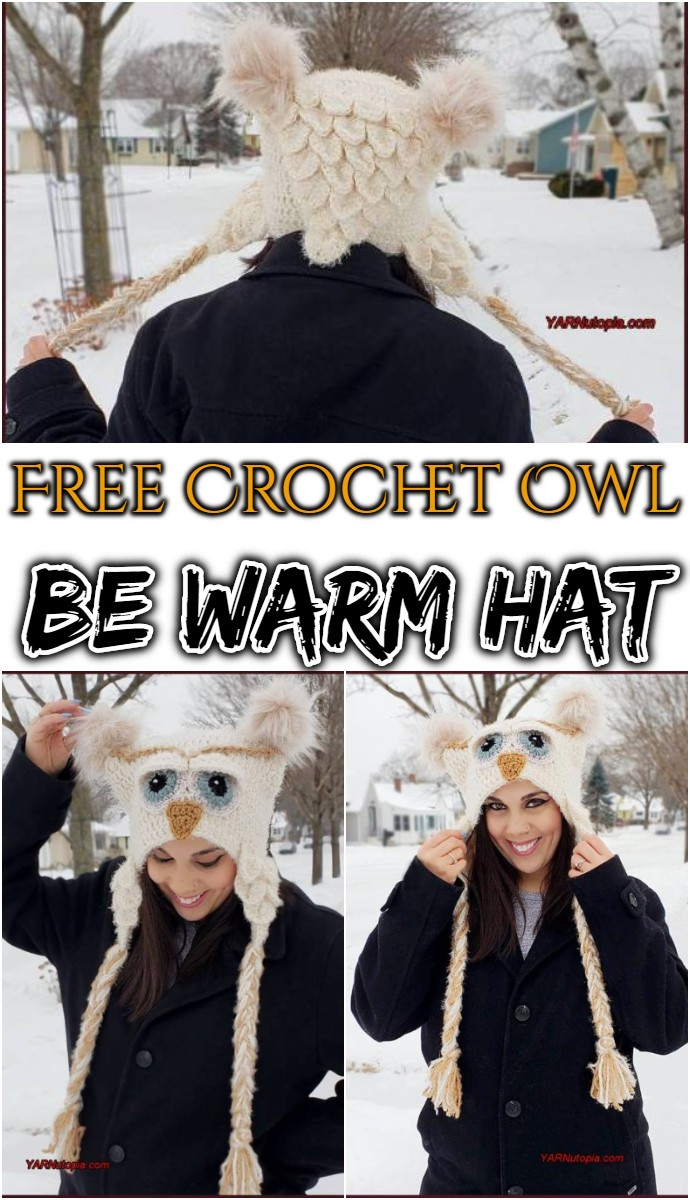 Free Crochet Owl Be Warm Hat