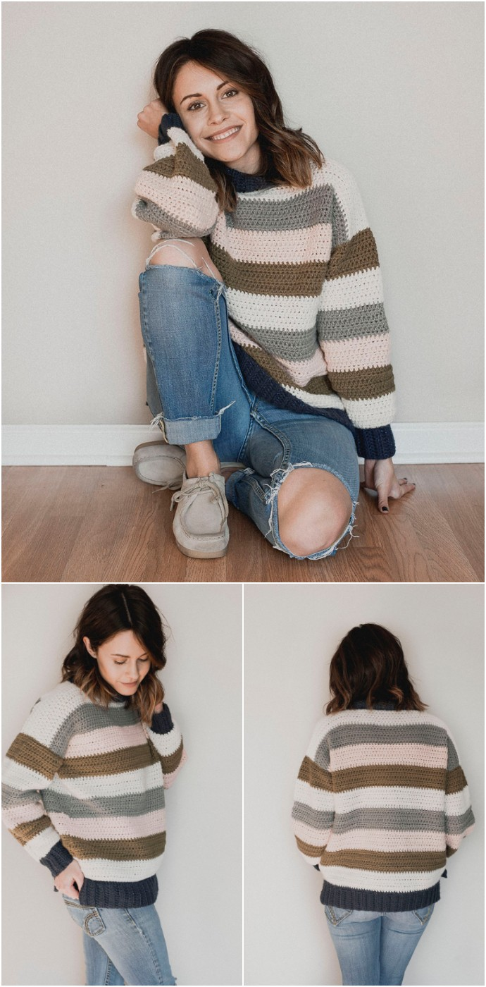 Free Crochet Pattern Retro Stripes Sweater