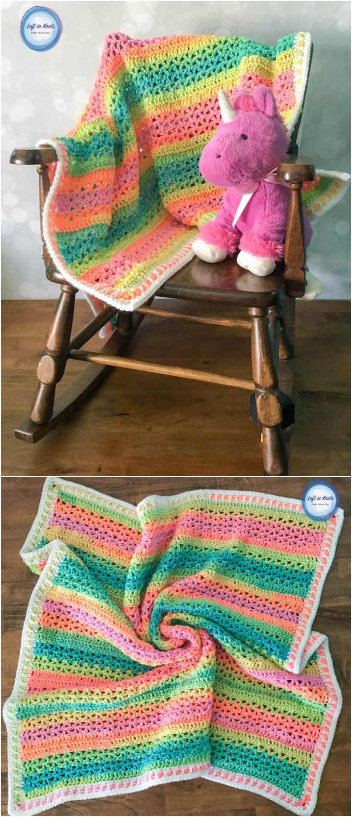 Free Crochet Unicorn Stripes Baby Blanket