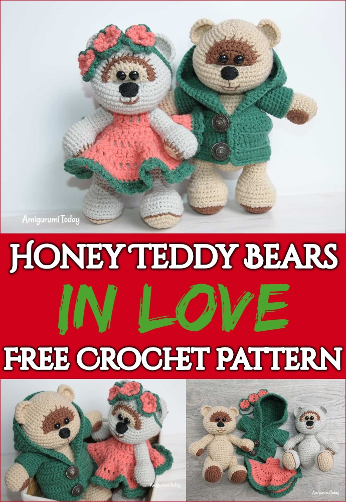 Honey Teddy Bears In Love Free Crochet