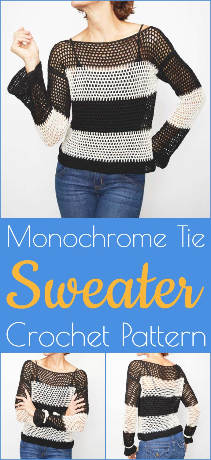 Monochrome Tie Sweater Crochet