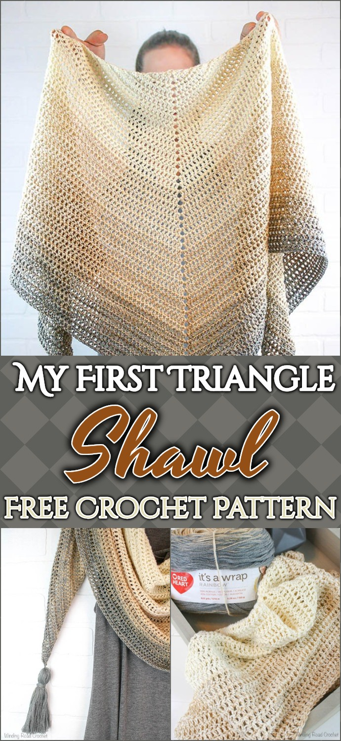 My First Triangle Shawl Free Crochet Pattern