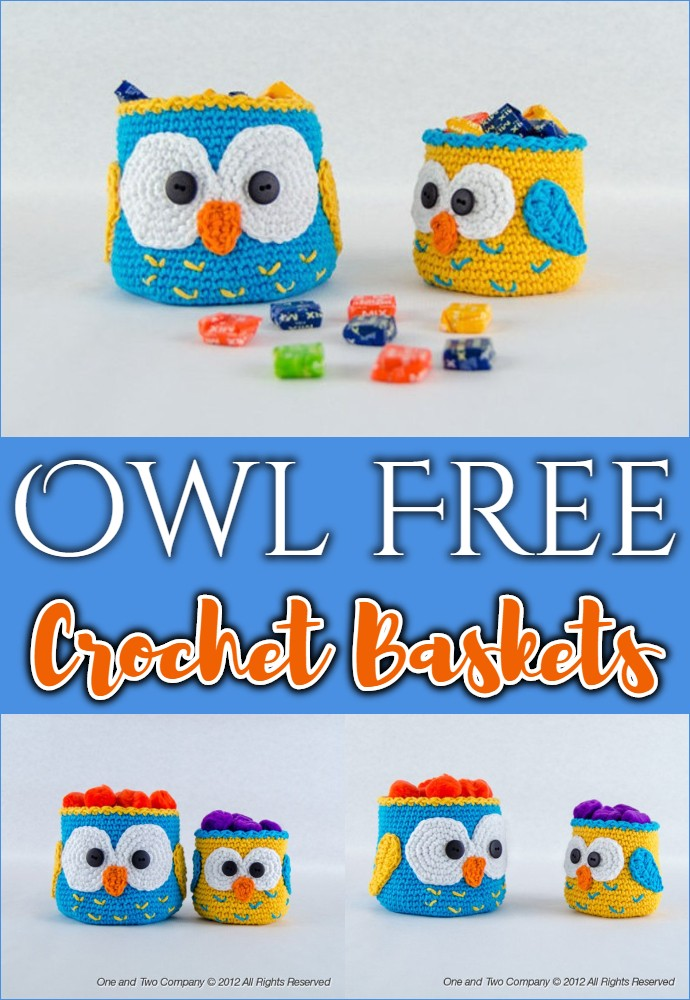 Owl Free Crochet Baskets