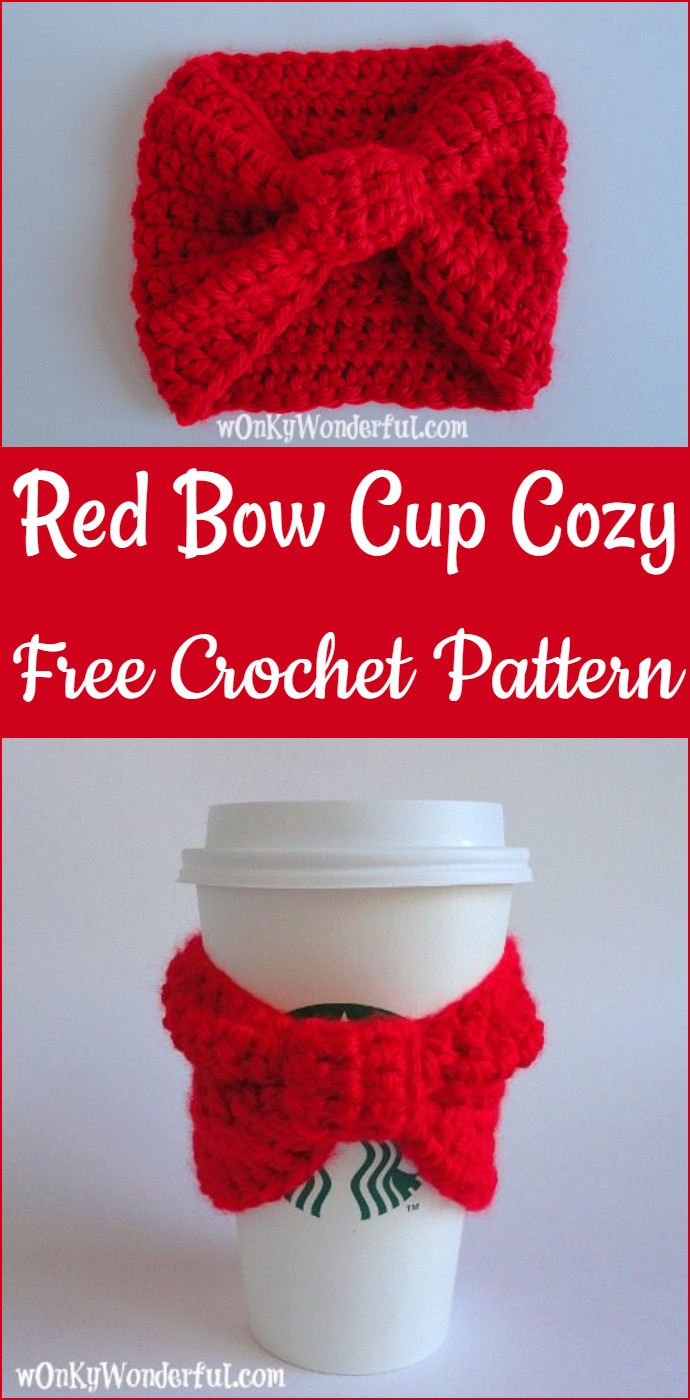 Red Bow Cup Cozy Free Crochet Pattern
