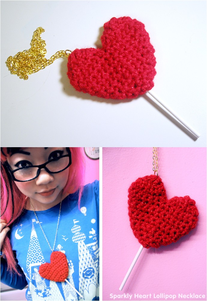 Sparkly Heart Lollipop Necklace