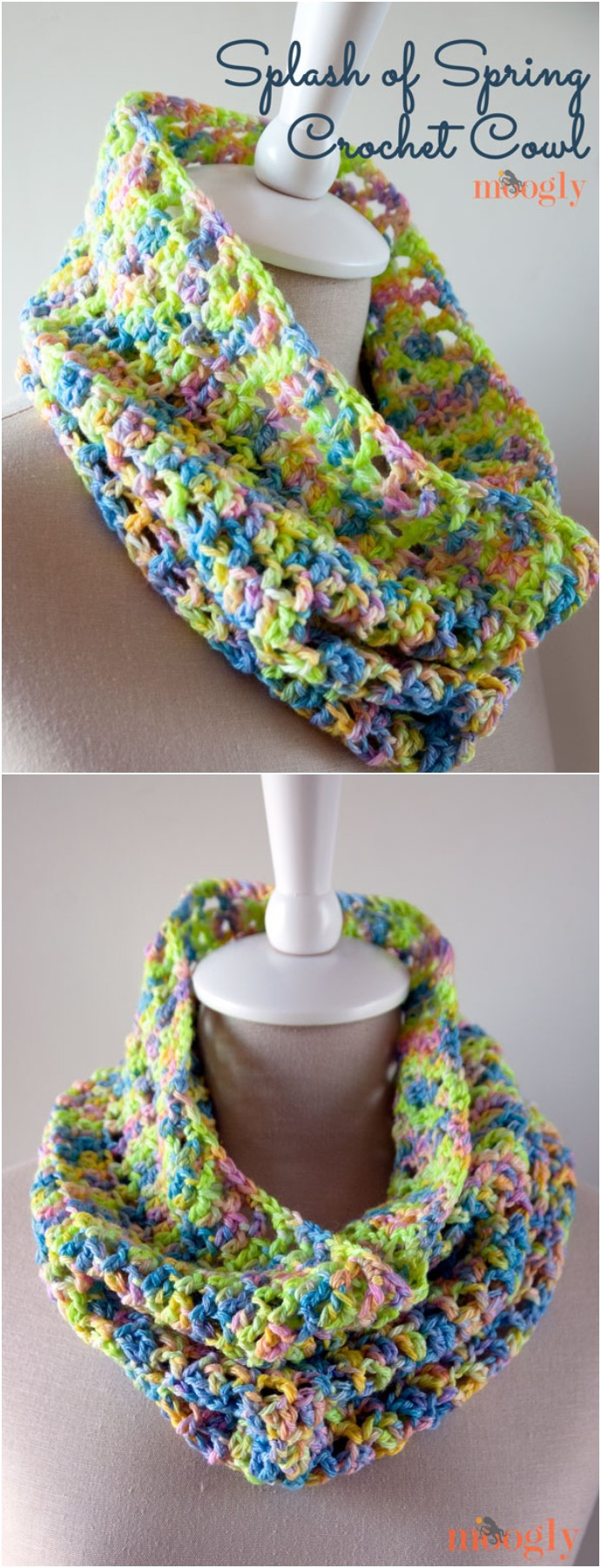 Splash Of Spring Free Crochet Cowl
