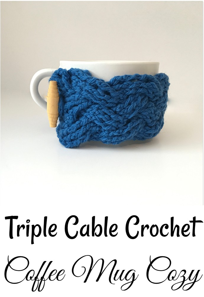 Triple Cable Crochet Coffee Mug Cozy
