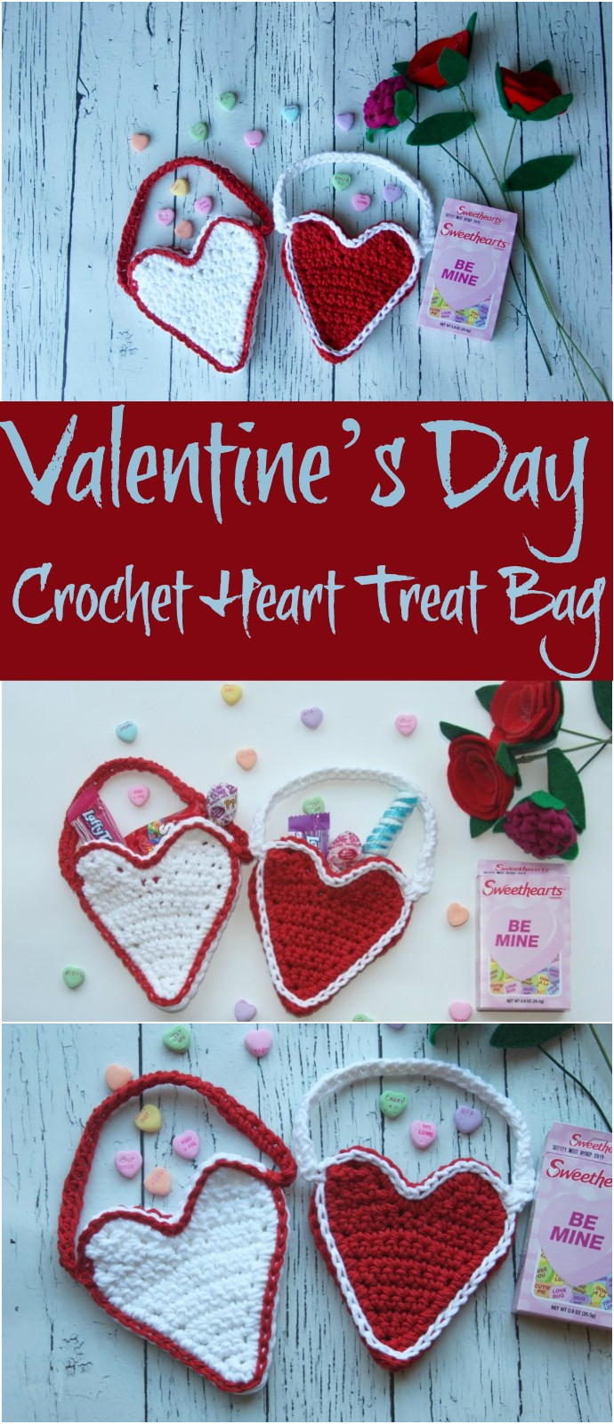 Valentine's Day Crochet Heart Treat Bag