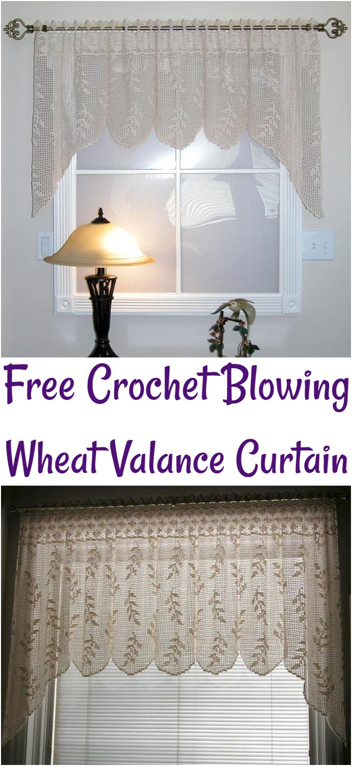 Free Crochet Blowing Wheat Valance Curtain