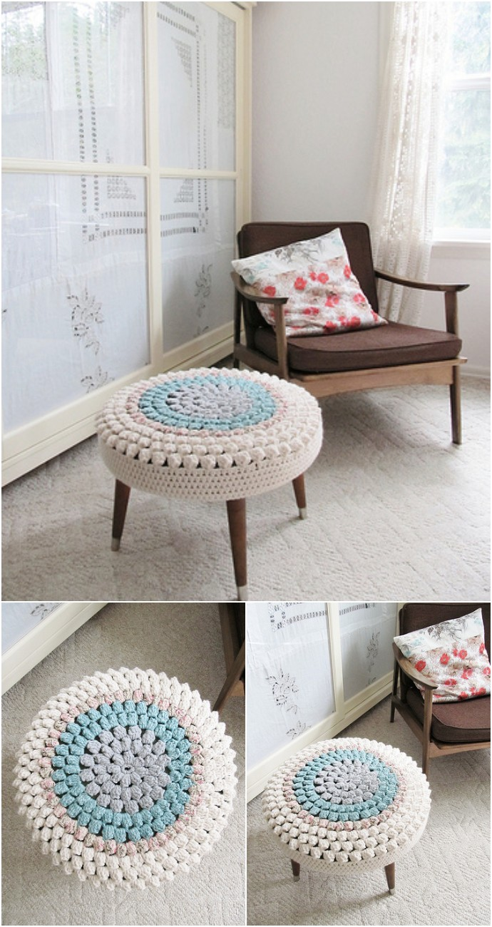 Free Crochet Bobble Stitch Stool Cover