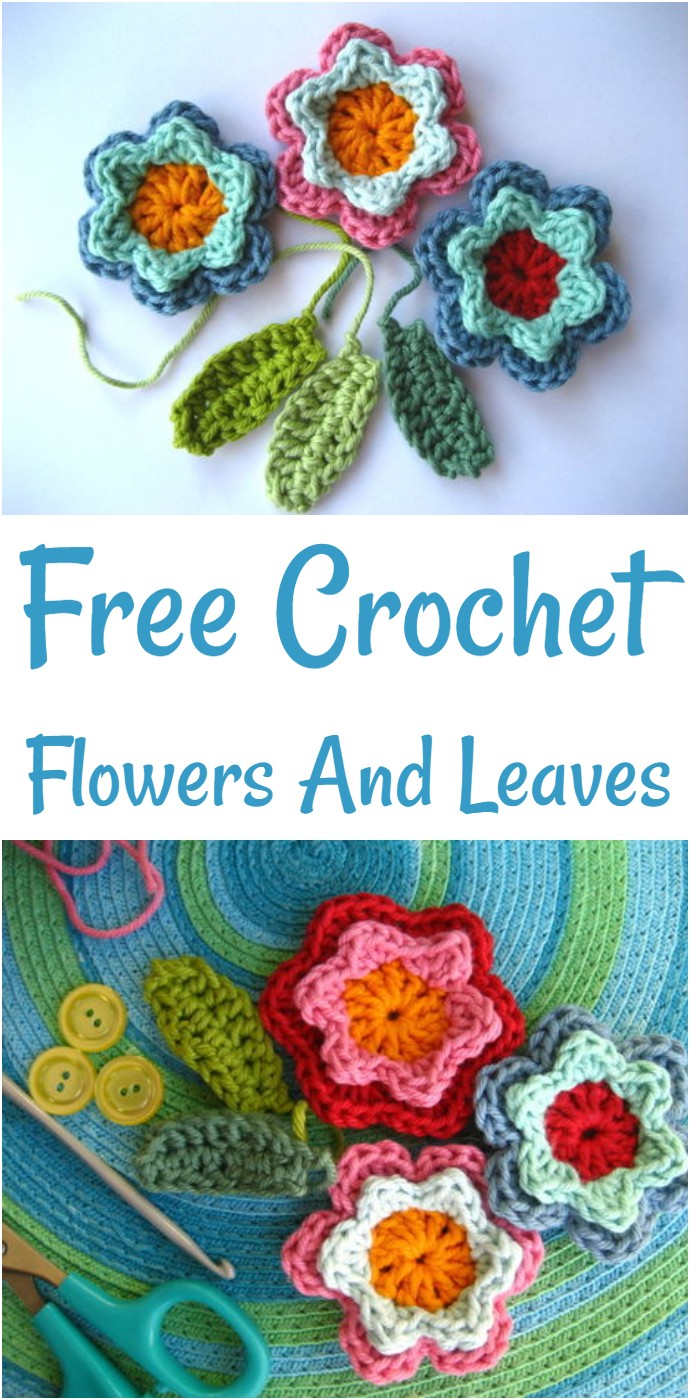 Free Crochet Flowers And Leaves