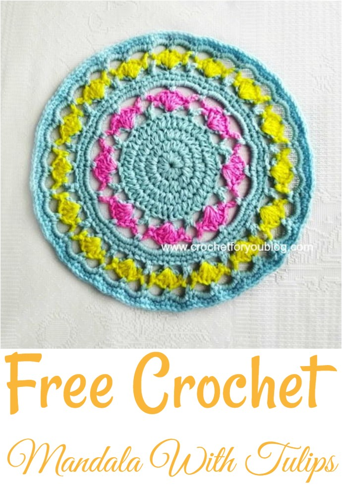 Free Crochet Mandala With Tulips