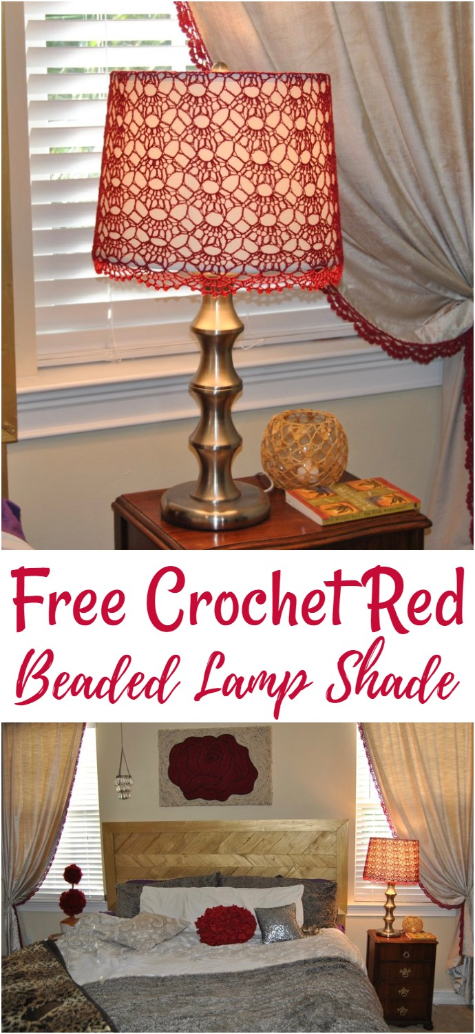 Free Crochet Red Beaded Lamp Shade