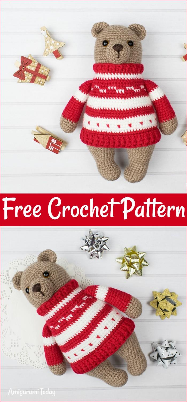 Amigurumi Bear In Pullover Free Crochet Pattern
